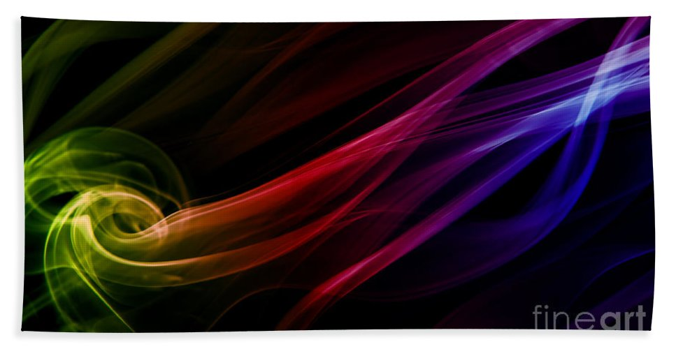 Blaminsky Hand Towel featuring the photograph Colorful Smoke Composition by Jaroslaw Blaminsky