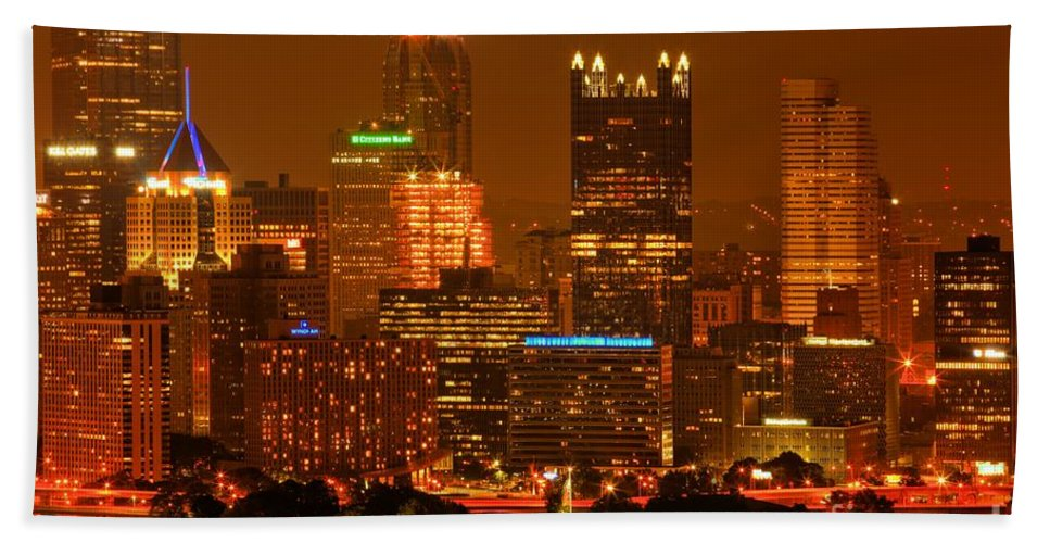 Pittsburgh Pennsylvania Bath Sheet featuring the photograph Colorful Summer Night In Pittsburgh by Adam Jewell