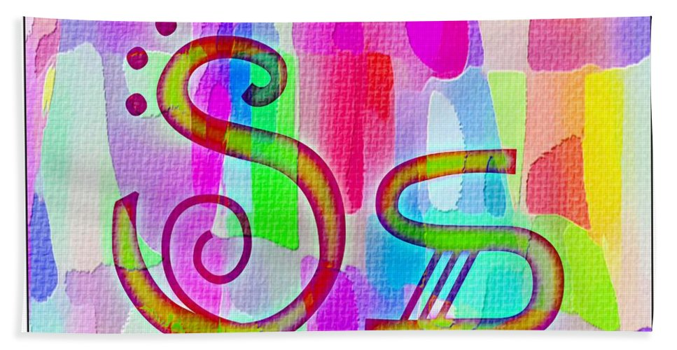 Colorful Texturized Alphabet Ss Bath Sheet featuring the digital art Colorful Texturized Alphabet Ss by Barbara Griffin