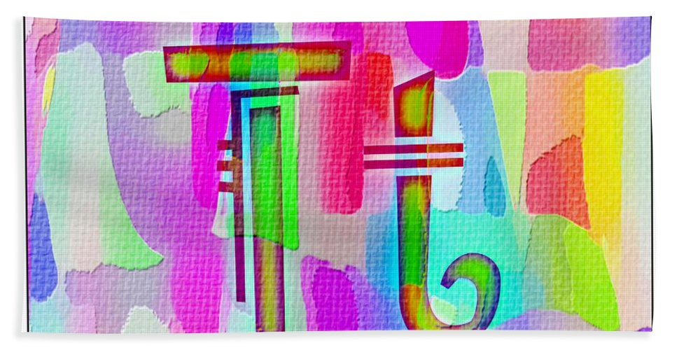 Colorful Texturized Alphabet Tt Bath Sheet featuring the digital art Colorful Texturized Alphabet Tt by Barbara Griffin