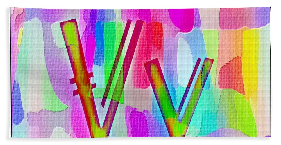 Colorful Texturized Alphabet V V Bath Sheet featuring the digital art Colorful Texturized Alphabet Vv by Barbara Griffin