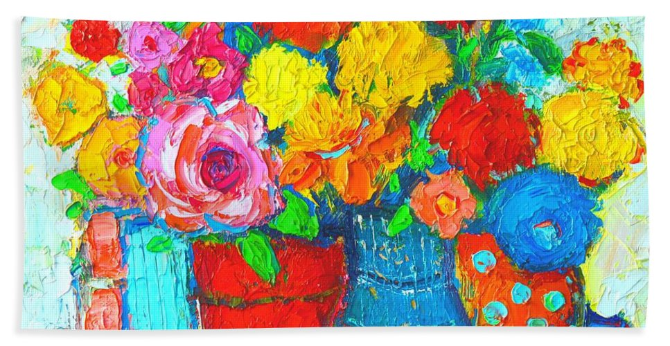Colorful Vases And Flowers Abstract Expressionist Painting Hand Towel