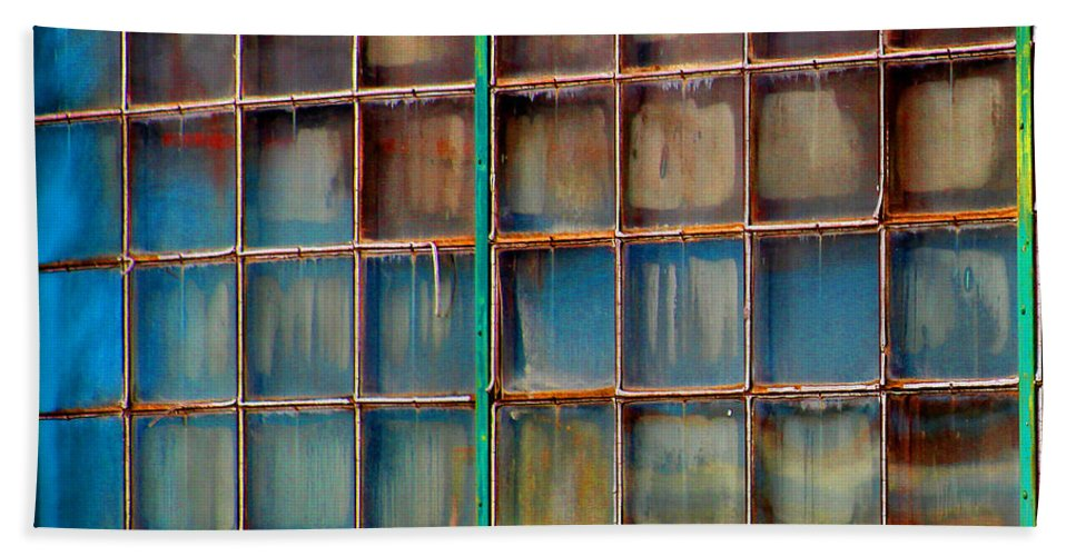 Building Bath Sheet featuring the photograph Colorful Windows by Karen Adams