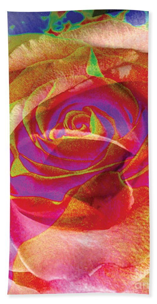 Rose Flower Hand Towel featuring the digital art Colorfull Rose by Yael VanGruber