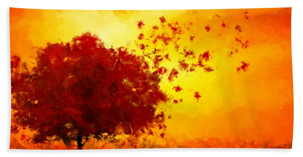 Maple Tree Hand Towel featuring the digital art Colors Hymn by Lourry Legarde