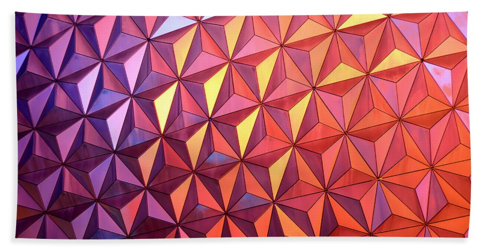 Epcot Park Florida Bath Sheet featuring the photograph Colors Of Epcot by David Lee Thompson