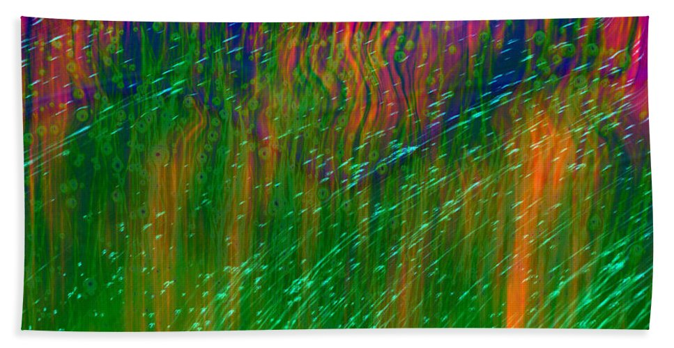 Abstract Hand Towel featuring the digital art Colors Of Grass by Linda Sannuti