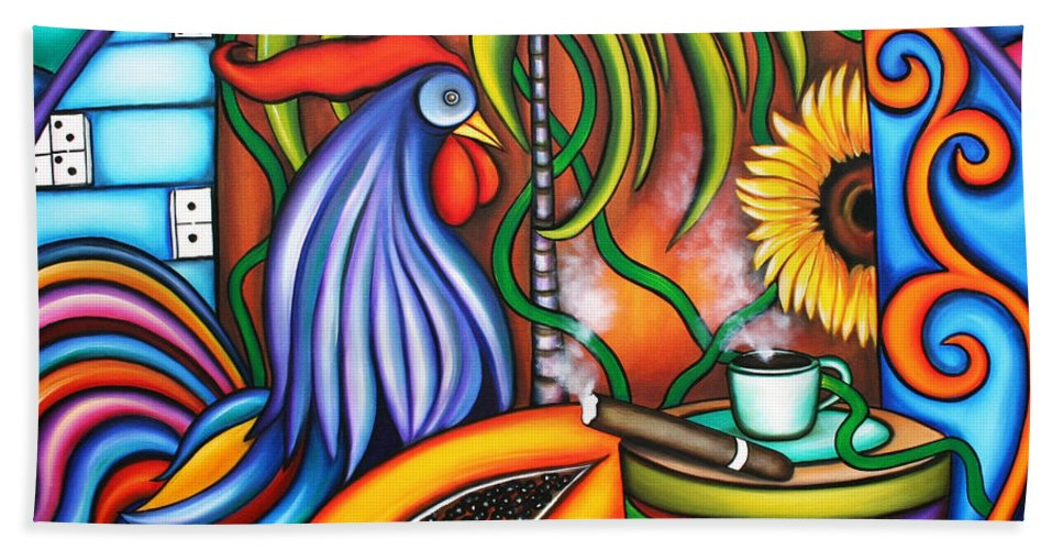 Cuba Hand Towel featuring the painting Colors Of My World by Annie Maxwell