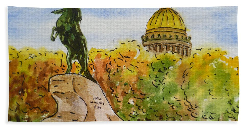 Russia Hand Towel featuring the painting Colors Of Russia Monuments Of Saint Petersburg by Irina Sztukowski