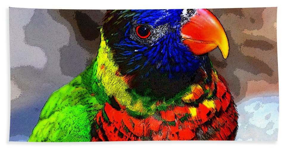 Art Hand Towel featuring the painting Colors Of The Lorikeet by David Lee Thompson