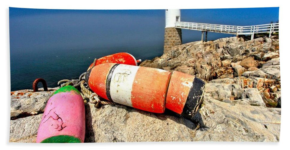 Robinson Point Lighthouse Bath Sheet featuring the photograph Colors On The Rocks by Adam Jewell