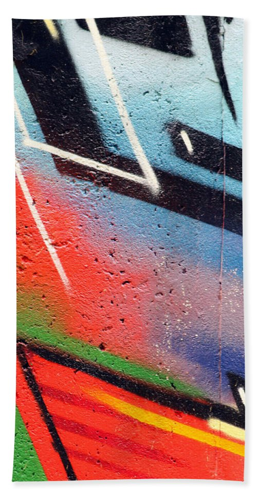 Color Colors Colorful Graffiti Wall Expressionism Impressionism Abstract Spray Sprayer Photograph Art Berlin Cold War Bath Sheet featuring the painting Colors On The Wall by Steve K