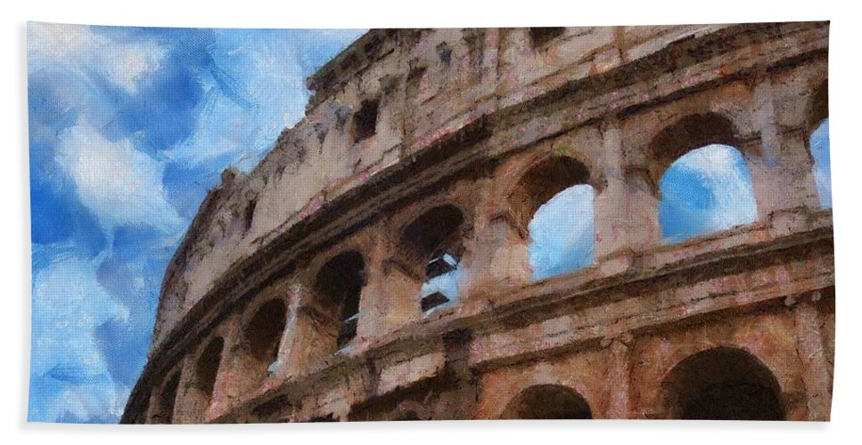 Archaeology Hand Towel featuring the painting Colosseo by Jeffrey Kolker
