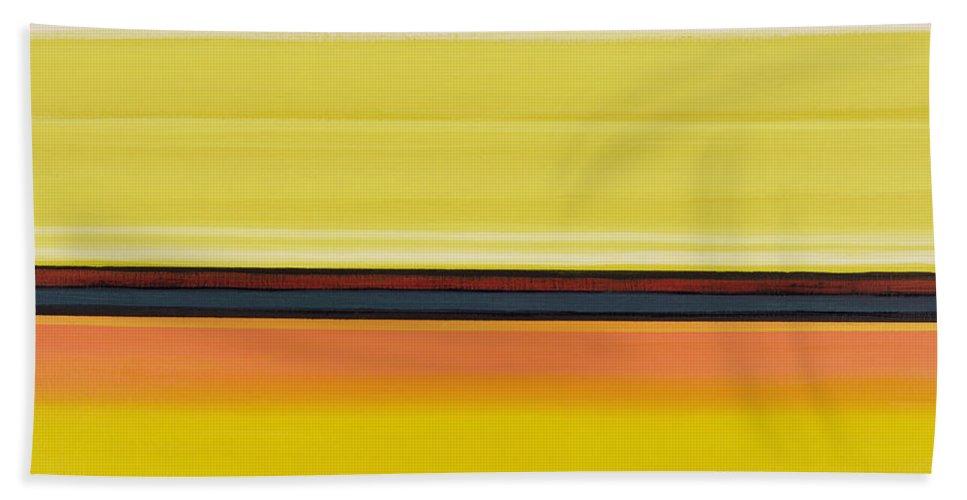 Abstract Hand Towel featuring the painting Colour Energy 13 by Izabella Godlewska de Aranda