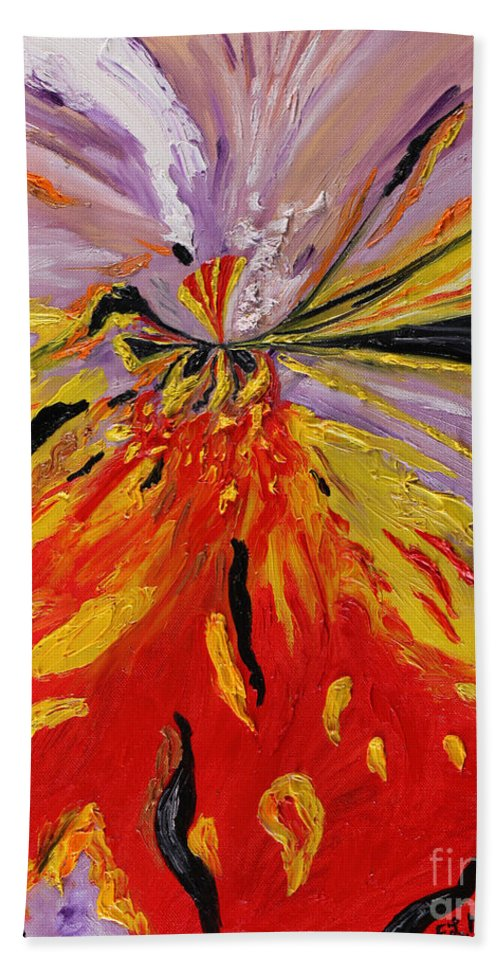 Loredana Messina Hand Towel featuring the painting Colourburst by Loredana Messina