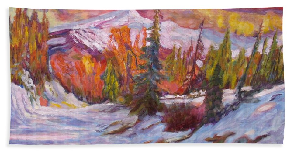 Winter Bath Sheet featuring the painting Coloured Winter by Elena Sokolova
