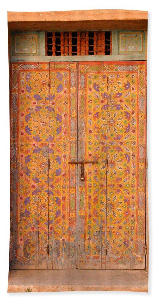 Door Bath Towel featuring the photograph Colourful Entrance Door Sale Rabat Morocco by Ralph A Ledergerber-Photography