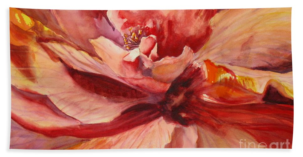 Background Bath Sheet featuring the painting Colourful Hibiscus by Mohamed Hirji