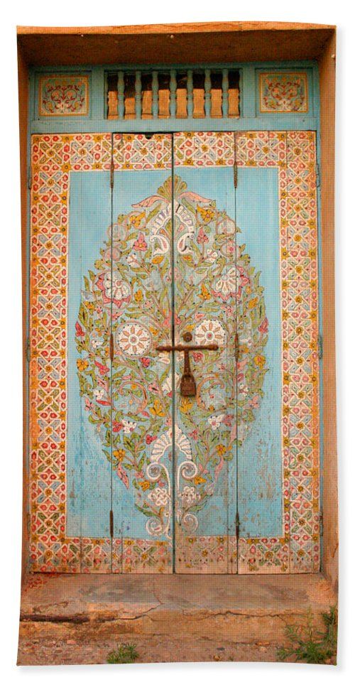 Door Hand Towel featuring the photograph Colourful Moroccan Entrance Door Sale Rabat Morocco by Ralph A Ledergerber-Photography