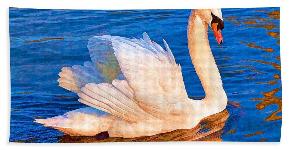 Swan Hand Towel featuring the digital art Colourful Swan by Roy Pedersen
