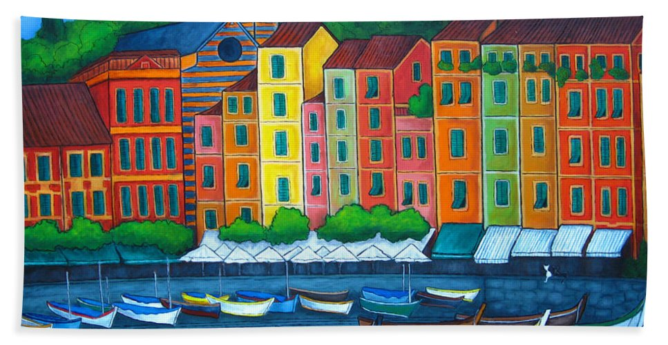 Portofino Hand Towel featuring the painting Colours Of Portofino by Lisa Lorenz