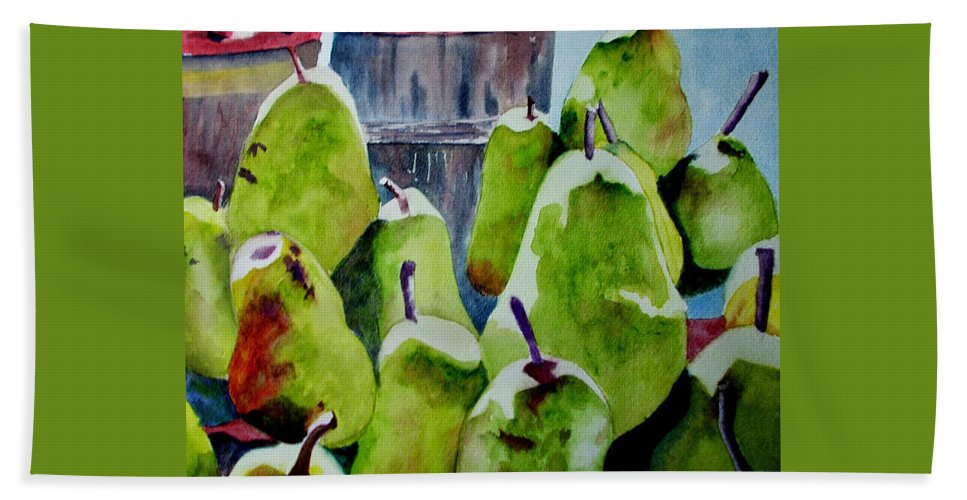 Pears Bath Sheet featuring the painting Columbus Pears by Nicole Curreri