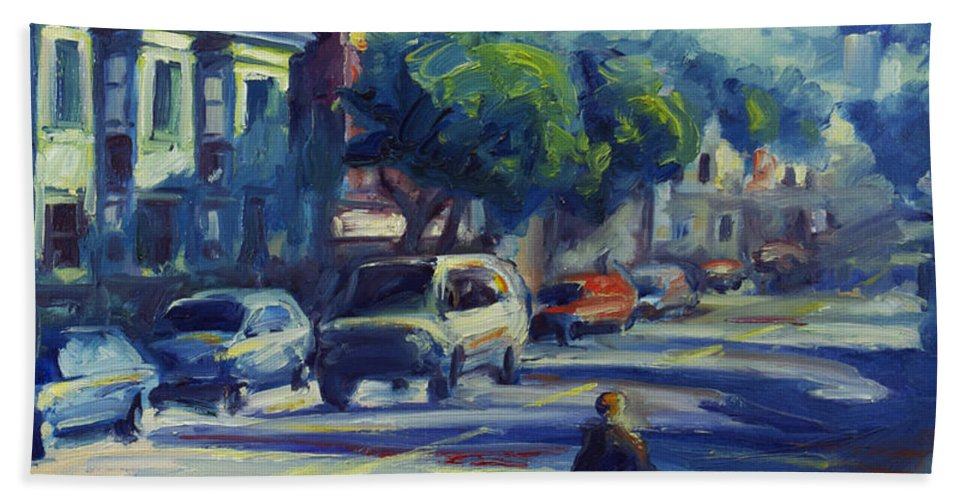 Cityscape Bath Sheet featuring the painting Columbus Street by Rick Nederlof