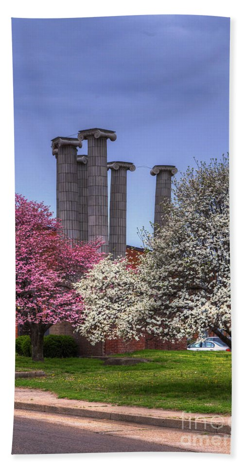 2014 Bath Sheet featuring the photograph Columns And Dogwood Trees by Larry Braun