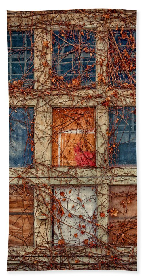 Boarded Up Windows Hand Towel featuring the photograph Columns And Rows by Nikolyn McDonald