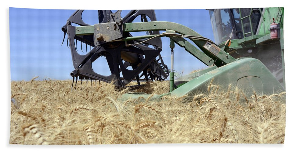 Combine Harvester Bath Sheet featuring the photograph Combine Harvester by Shay Fogelman