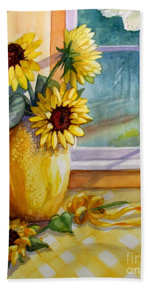 Yellow Flowers Bath Sheet featuring the painting Come Home by Marilyn Smith