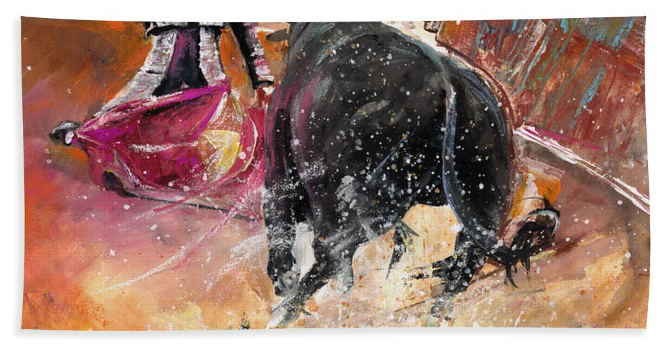 Bullfight Hand Towel featuring the painting Come If You Dare by Miki De Goodaboom
