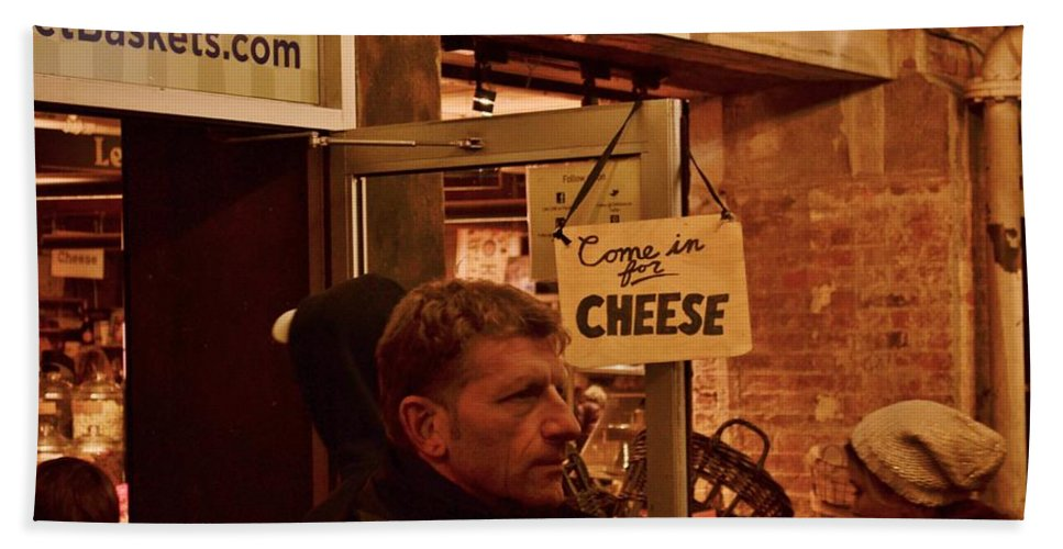 Chelsea Market Hand Towel featuring the photograph Come In For Cheese by Wayne Schmitt