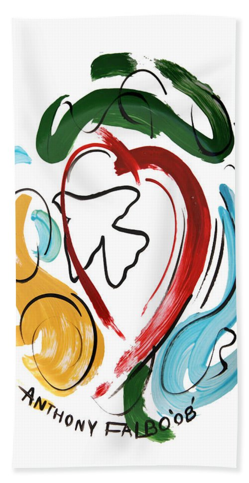 Come Into My Heart Bath Sheet featuring the painting Come Into My Heart by Anthony Falbo