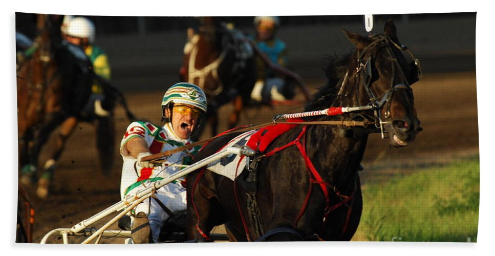 Horse Race Bath Sheet featuring the photograph Horse Racing Come On Number 6 by Bob Christopher