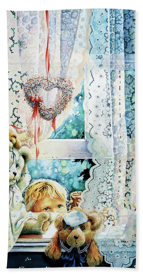 Teddy Bear Bath Sheet featuring the painting Come Out And Play Teddy by Hanne Lore Koehler