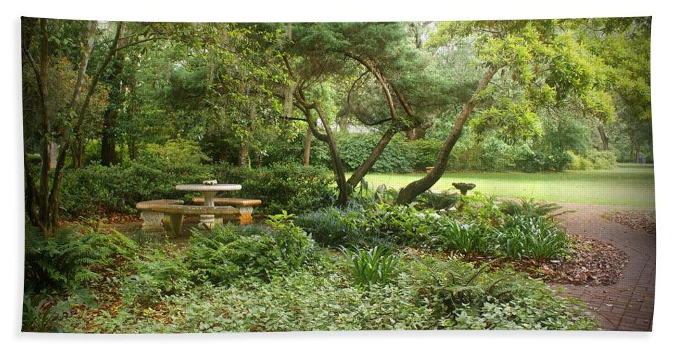 Landscape Bath Sheet featuring the photograph Come Sit A While by Sandy Keeton