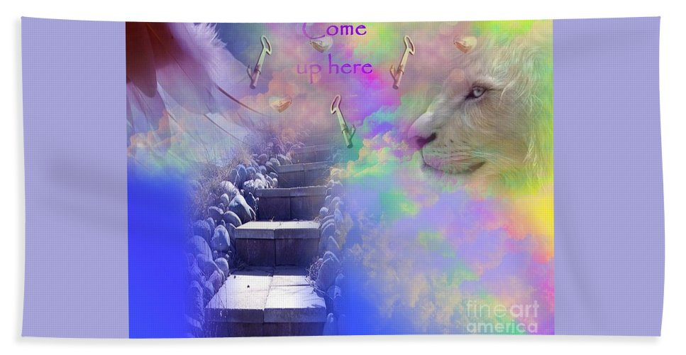 Heavenly Bath Sheet featuring the digital art Come Up Here by Jewell McChesney