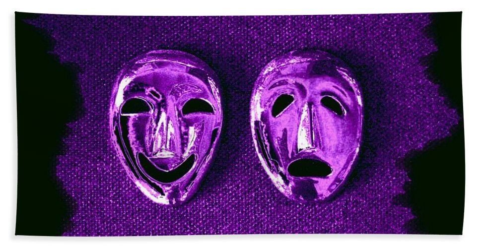 Comedy And Tragedy Masks 2 Hand Towel featuring the digital art Comedy And Tragedy Masks 2 by Will Borden