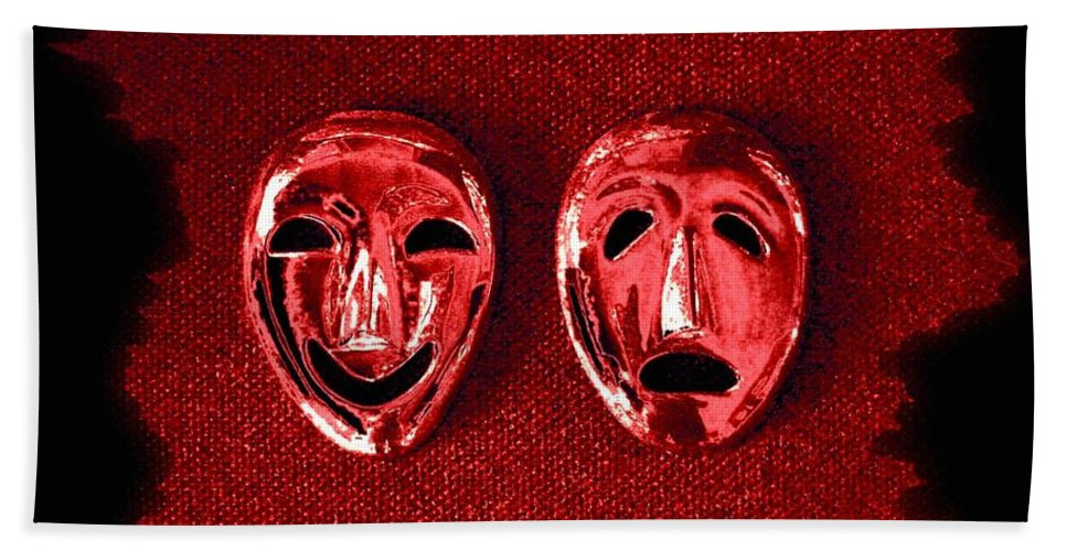 Comedy And Tragedy Masks 4 Hand Towel featuring the digital art Comedy And Tragedy Masks 4 by Will Borden