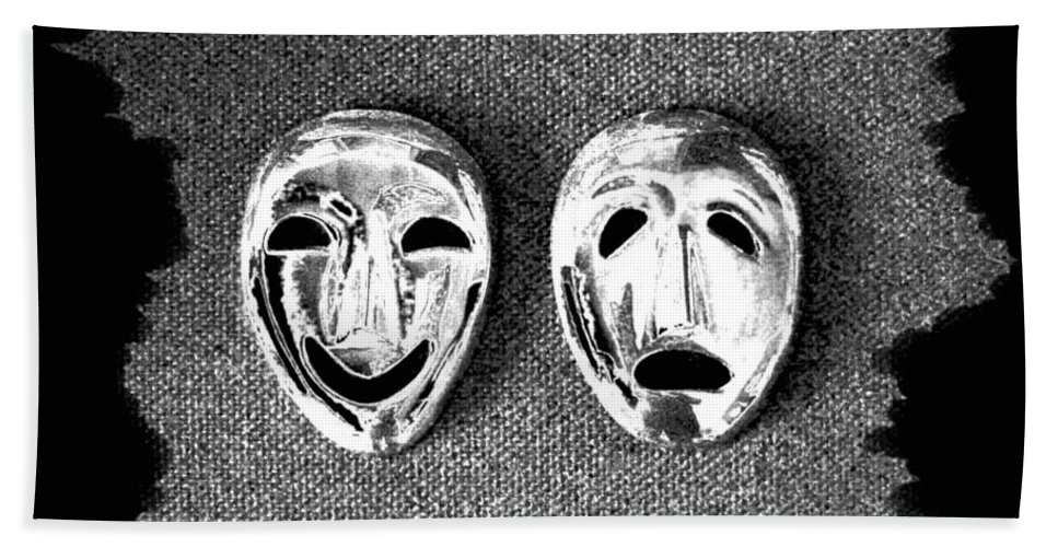 Comedy And Tragedy Masks 7 Hand Towel featuring the digital art Comedy And Tragedy Masks 7 by Will Borden