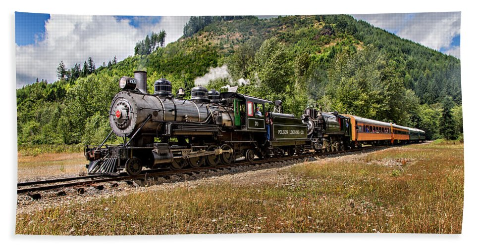 Mt Rainier Scenic Railroad Bath Sheet featuring the photograph Coming 'round The Mountain by Mary Jo Allen
