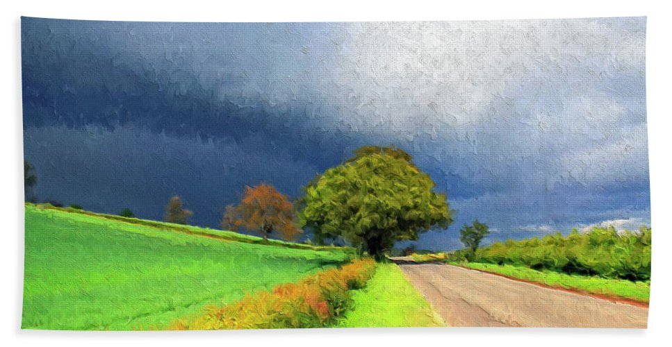 Storm Hand Towel featuring the painting Coming This Way by Dominic Piperata