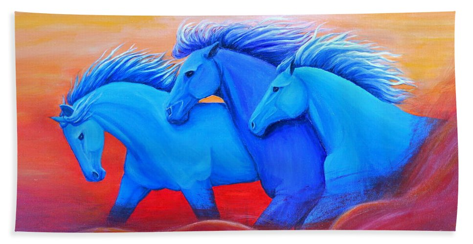 Running Horses Art Bath Sheet featuring the painting Coming Through The Storm by Nancy Q Studio