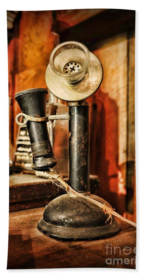 Paul Ward Hand Towel featuring the photograph Communication - Candlestick Phone by Paul Ward