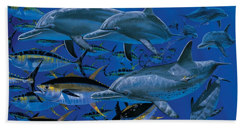 Porpoise Hand Towel featuring the painting Companions Off00117 by Carey Chen
