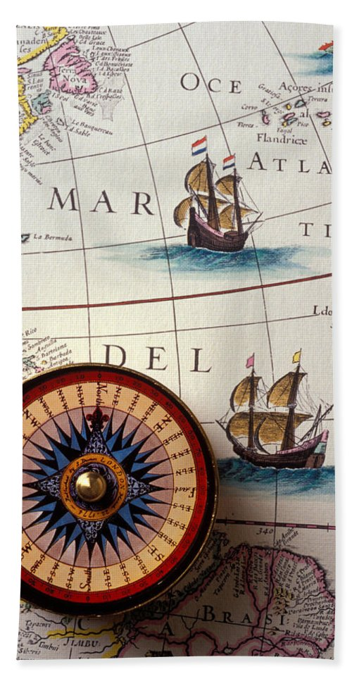 Compass Hand Towel featuring the photograph Compass And Old Map With Ships by Garry Gay
