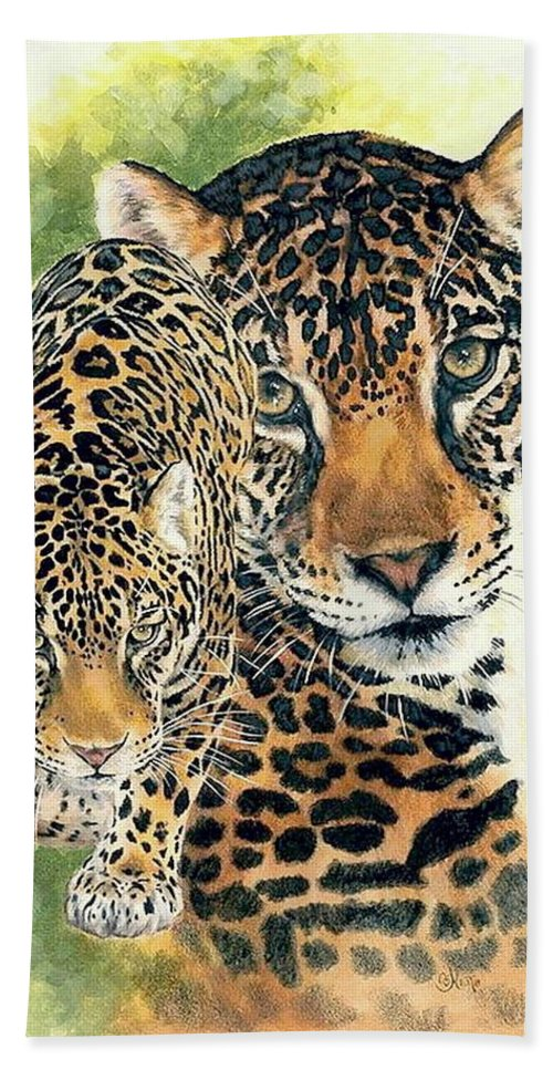 Jaguar Bath Towel featuring the mixed media Compelling by Barbara Keith