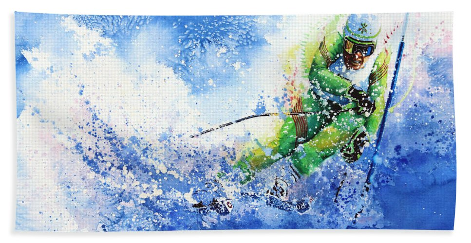 Olympic Sports Bath Sheet featuring the painting Competitive Edge by Hanne Lore Koehler