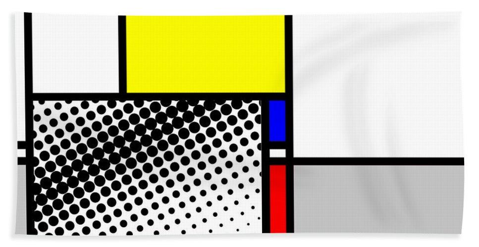 Mondrian Hand Towel featuring the mixed media Composition 115 by Dominic Piperata